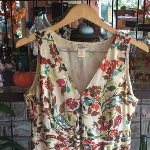 Silk and Cotton 3\4 length copyrighted print dress